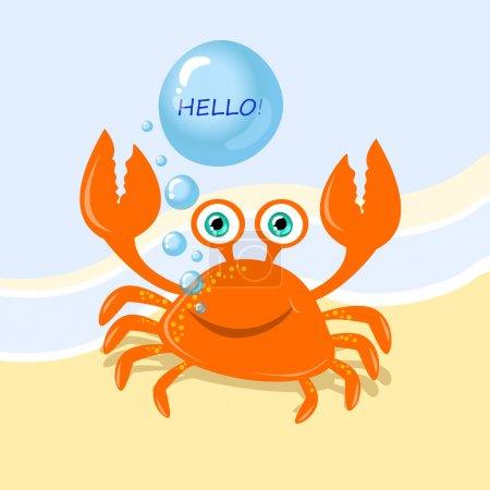 Funny cartoon crab message greeting