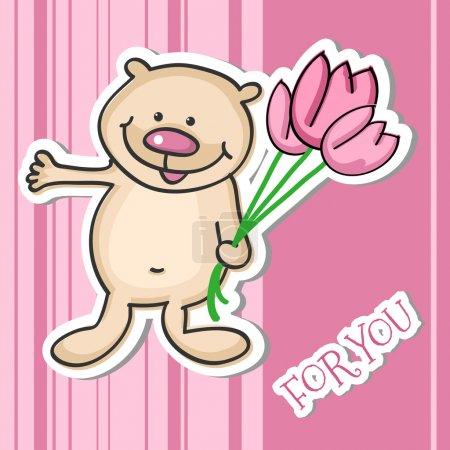Illustration pour Mignon petit ours en peluche avec un bouquet de fleurs, illustration vectorielle - image libre de droit