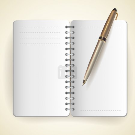 Illustration for Vector of notepad and pen - Royalty Free Image