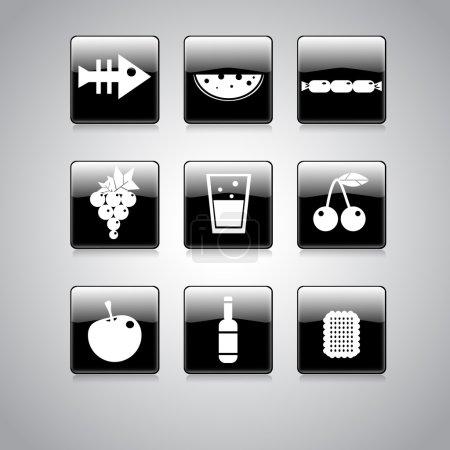 Illustration pour Icône alimentaire sur carré noir et blanc Bouton Collection Illustration vectorielle - image libre de droit