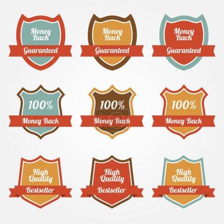 Conjunto de escudos de venta de vectores