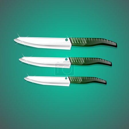 Illustration pour Couteaux de cuisine sur fond vert. Vecteur - image libre de droit