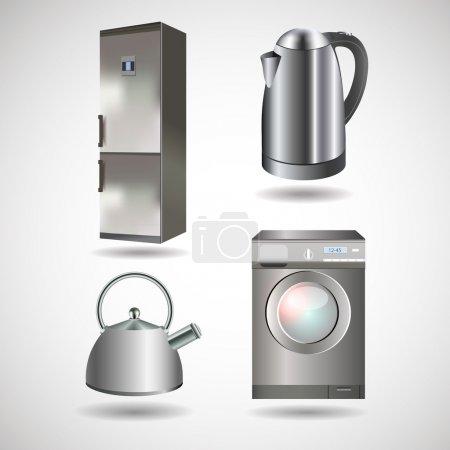 Illustration pour Appareils électroménagers vectoriels - bouilloire, lave-linge, réfrigérateur - image libre de droit