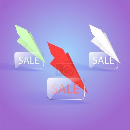 Verkauf Banner Designs mit Papierfliegern. Vektor