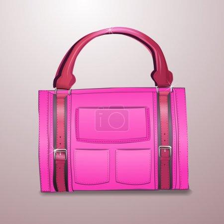 Illustration pour Illustration vectorielle de mallette en cuir rose - image libre de droit