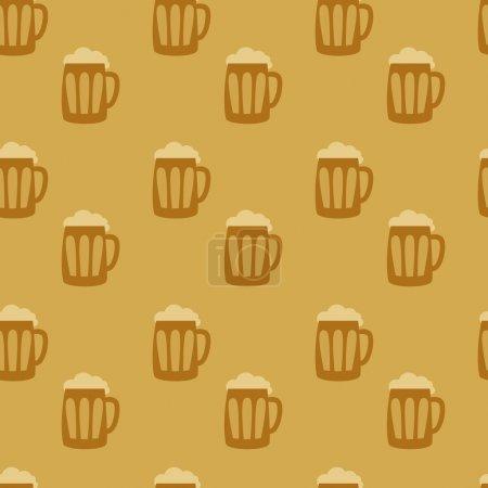Illustration pour Illustration vectorielle de fond sans couture bière - image libre de droit