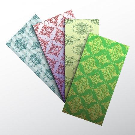 Illustration pour Ensemble d'éléments décoratifs floraux colorés de carte de visite. - image libre de droit