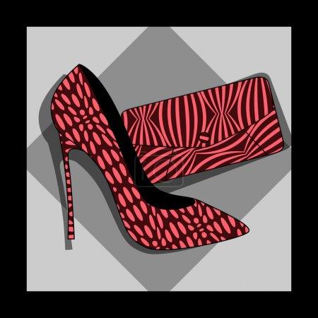 Illustration pour Chaussures de mode et sac, vecteur - image libre de droit