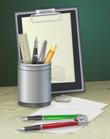 Illustration for Notepad with pens, ruler and pencil - Royalty Free Image