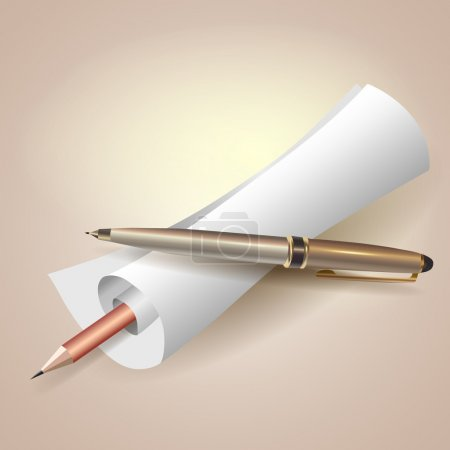 Scroll paper with pen and pencil