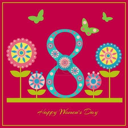 Illustration pour Carte de vœux vectorielle pour la Journée de la Femme - image libre de droit