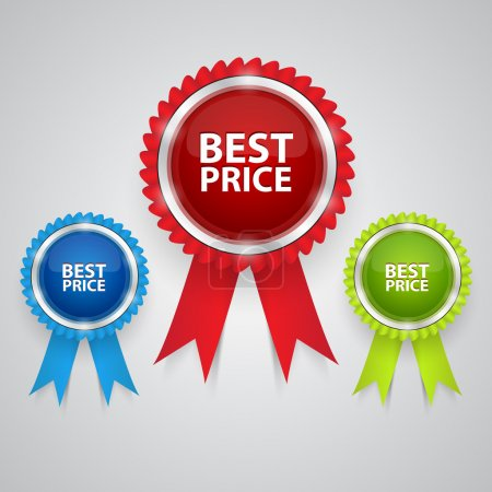 Vector best price labels with ribbons.