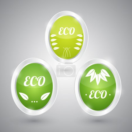Photo for Set of green round signs. Eco, green and natural - Royalty Free Image