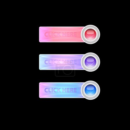 Vector set of clock here buttons