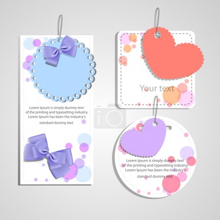 Set of beautiful gift cards with heart and bows