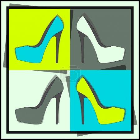 Illustration pour Chaussures femme mode, vecteur - image libre de droit