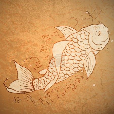 Vintage vector illustration of catfish