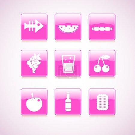 Illustration pour Icône de la nourriture sur carré rose bouton collection. Illustration vectorielle - image libre de droit