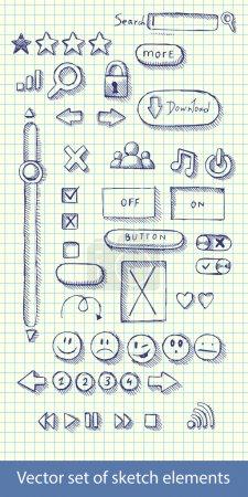 Illustration pour Illustration vectorielle jeu d'icônes web dessinées à la main - image libre de droit