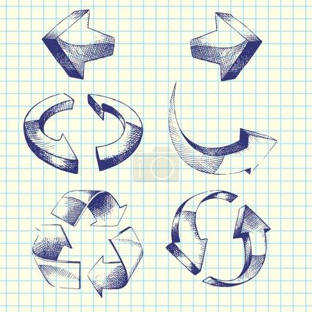 Set of vector hand-drawn arrows