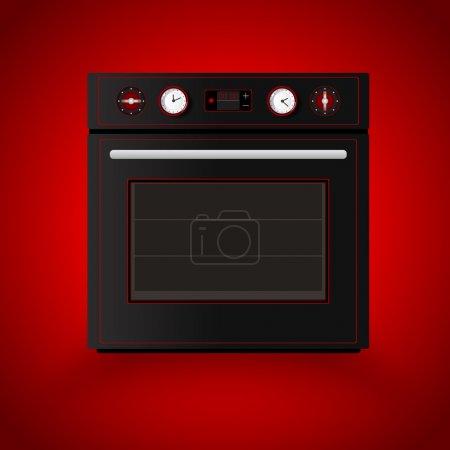 Illustration pour Four de cuisine sur fond rouge. Illustration vectorielle - image libre de droit