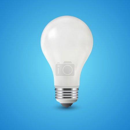White light bulb on blue background, vector