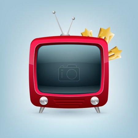 Vektor roter Retro-Fernseher.