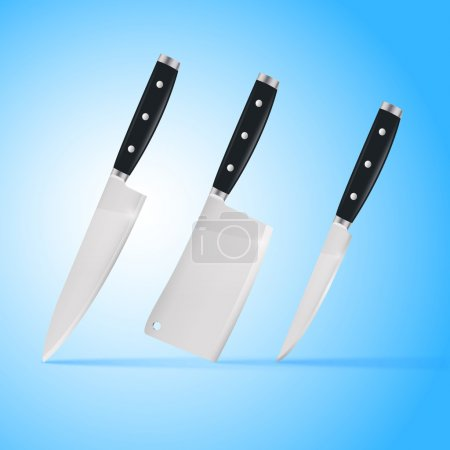 Illustration for Three chef's kitchen carving knives - Royalty Free Image