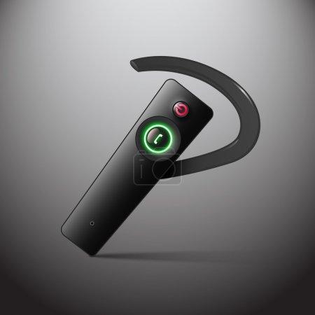 Vektor schwarzes drahtloses Headset, Mobilkommunikation