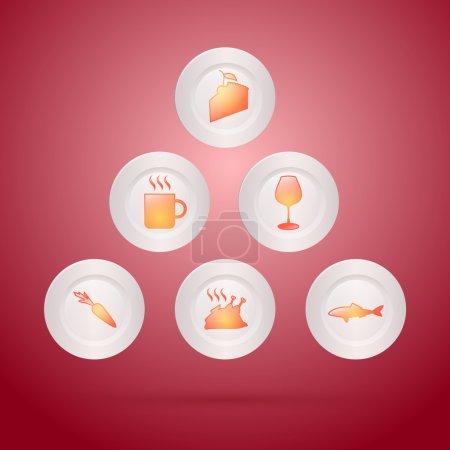 Illustration pour Illustration vectorielle de différentes icônes alimentaires - image libre de droit