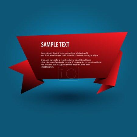 Bandera roja de origami. Fondo vectorial .