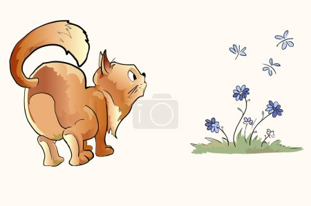 Surprised cat looking at butterflies. Vector illustration.