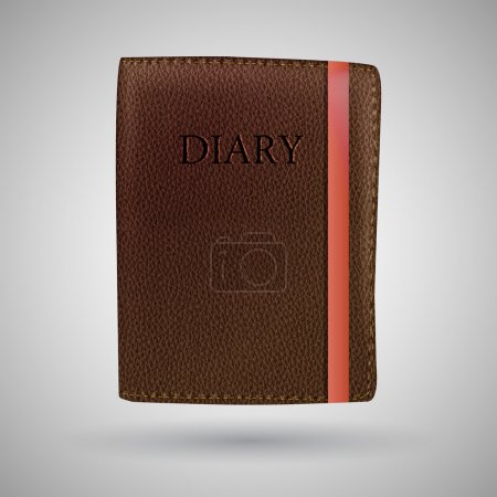 Leather diary book vector illustration