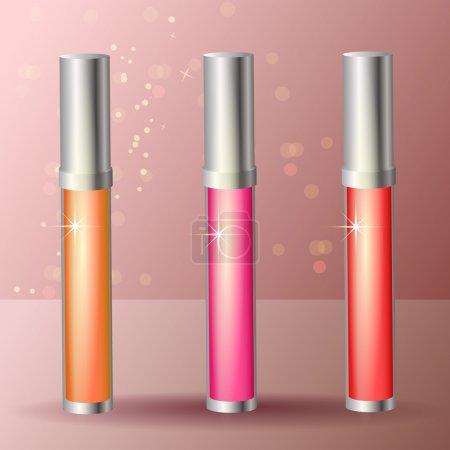 Foto de Brillo labial de tres colores - Imagen libre de derechos