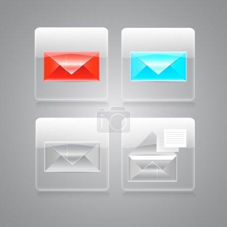 Illustration pour Ensemble d'icônes enveloppes vectorielles - image libre de droit