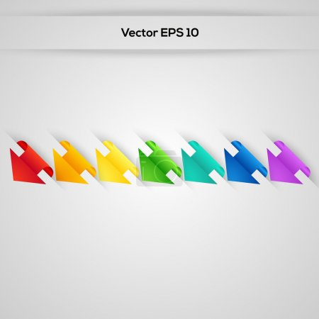 Set vector arrows in the form of paper stickers