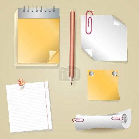 Illustration of pencil, sticker, scroll, notepad