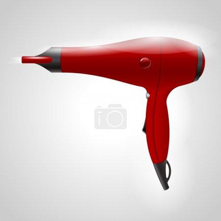 Illustration pour Sèche-cheveux rouge, illustration vectorielle - image libre de droit
