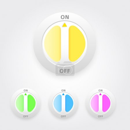 Illustration for On Off buttons set. Vector - Royalty Free Image