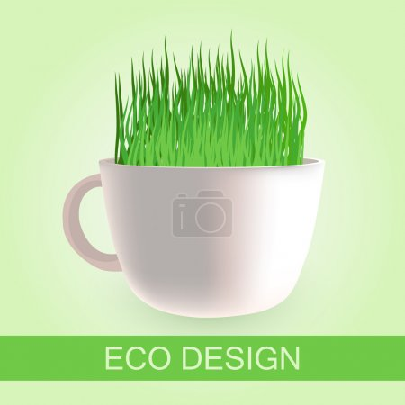 Eco design with fresh grass in a cup, vector