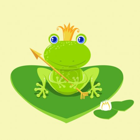 Frog Prince waiting to be kissed, holding arrow.