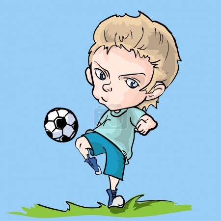 Young soccer player vector illustration