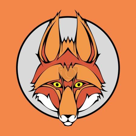 Ilustración vectorial de un conjunto de encaje de cabeza de zorro dentro del círculo .