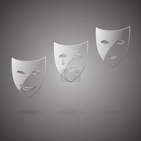 Illustration pour Comédie en verre, tragédie & masque de poker - image libre de droit