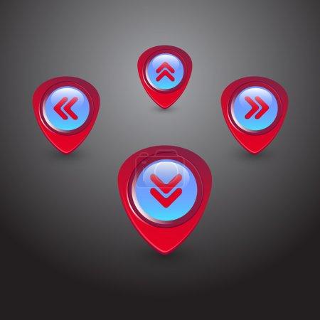 Navigator arrows icons set, round symbols vector collection.