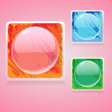 Illustration pour Boutons brillants Web. Illustration vectorielle . - image libre de droit