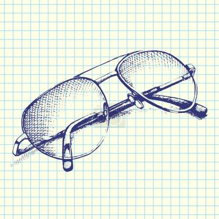 Illustration pour Lunettes de soleil dessinées à la main Sketchy Notebook Doodles Vector Illustration sur fond de papier Sketchbook - image libre de droit