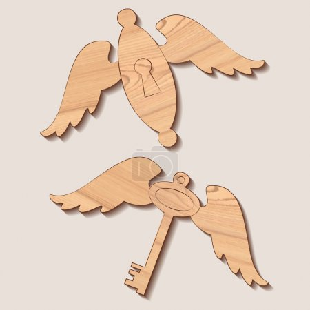Wooden key and keyhole with wings