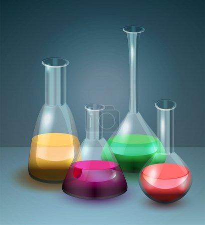 Vector laboratory flasks vector illustration