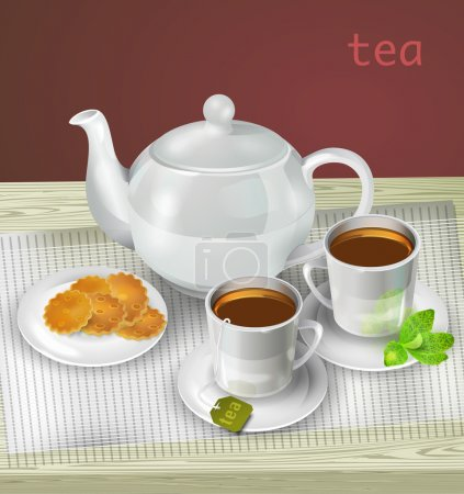 Vector illustration of teapot, cups and cookies